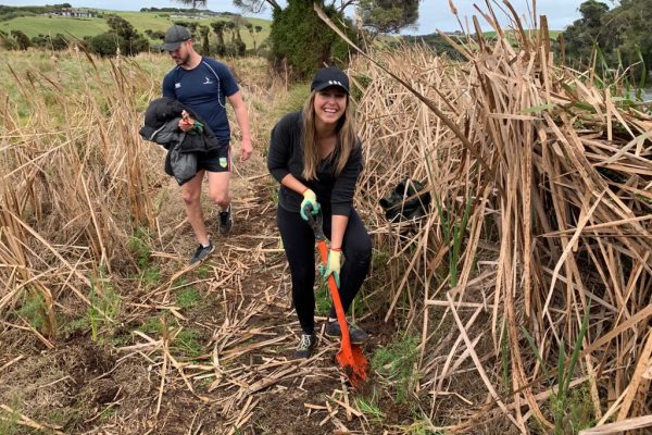 Volunteer Megan Price Planting at Marie Neverman Reserve